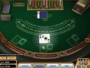 Capture d'ecran d'une table de blackjack en ligne gratuit sans inscription