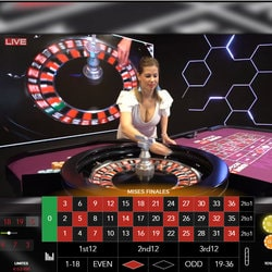 Capture d'écran d'une table de roulette casino en studio
