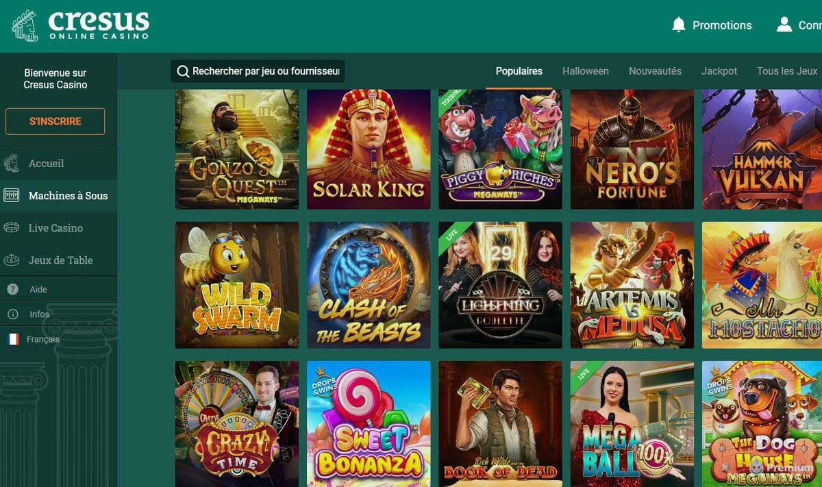 Avis sur le casino en ligne Crésus par des experts de jeux en live