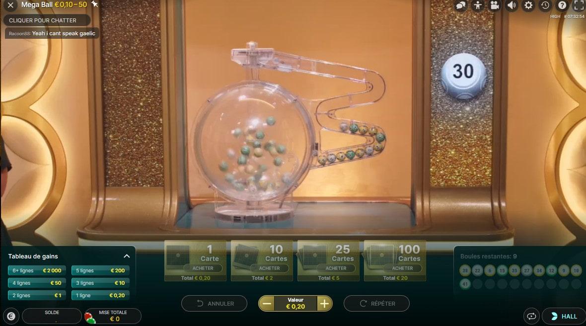 Tirage du loto en ligne sur Mega Ball